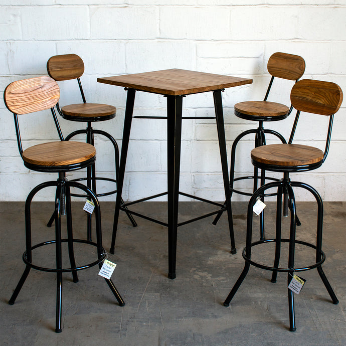 5PC Lodi Table & Lazio Bar Stool Set - Black