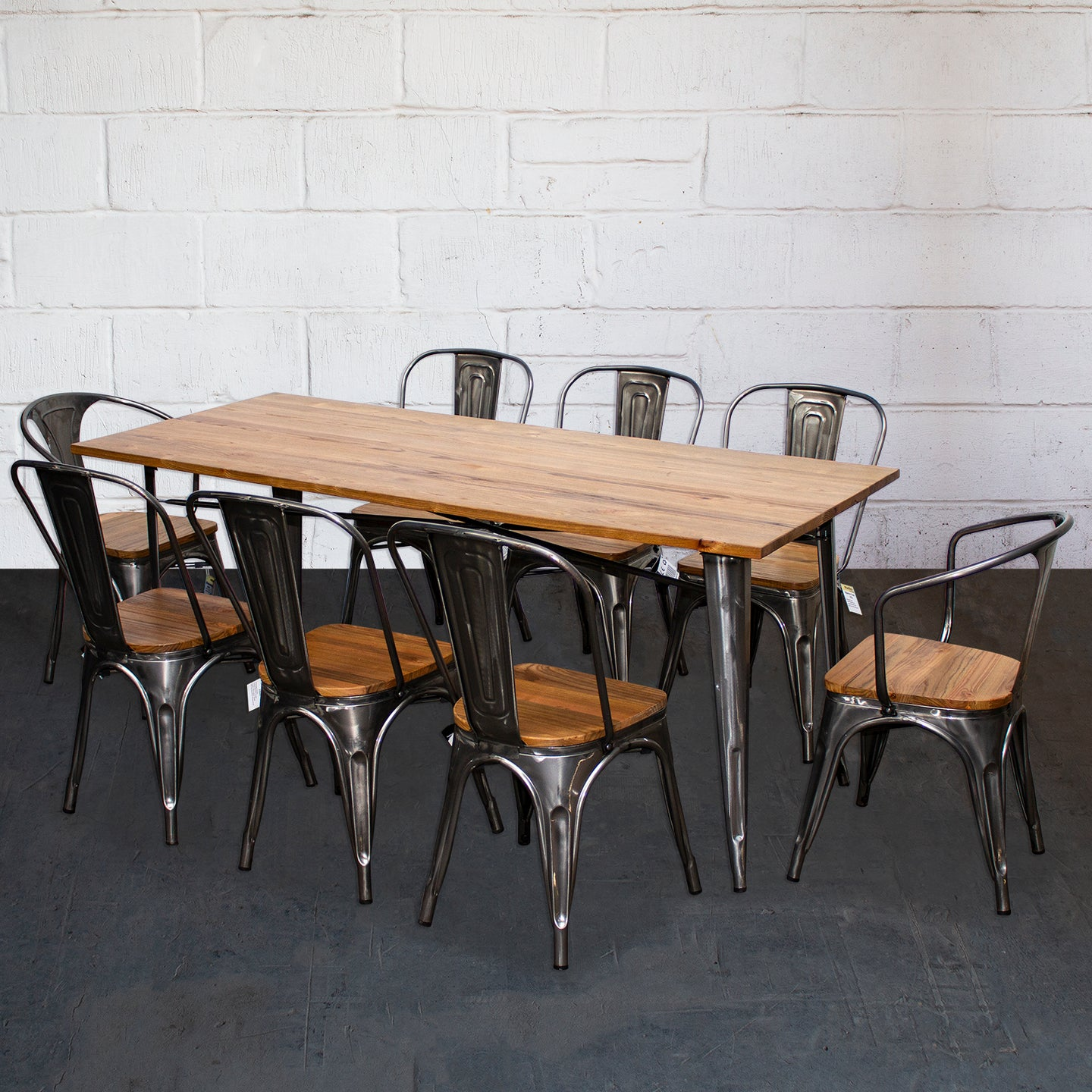 9PC Taranto Table, 2 Florence & 6 Palermo Chairs Set - Steel