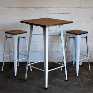 3PC Lodi Table & Firenze Bar Stool Set - White