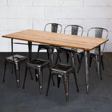 7PC Taranto Table, 3 Siena Chairs & 3 Castel Stools Set - Steel