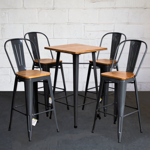 5PC Lodi Table & Soranzo Bar Stool Set - Graphite Grey