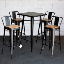 5PC Laus Table & Tuscany Bar Stool Set - Onyx Matt Black