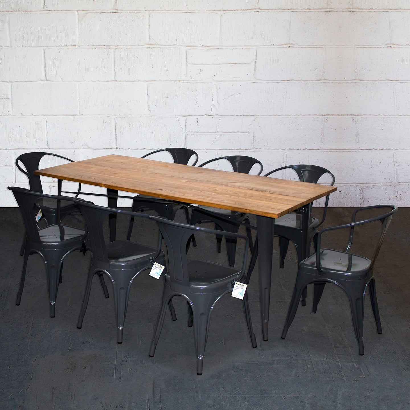 9PC Taranto Table & 8 Forli Chairs Set - Graphite Grey