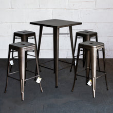 5PC Laus Table & Orvieto Bar Stool Set - Gun Metal Grey