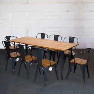 9PC Taranto Table, 2 Florence & 6 Palermo Chairs Set - Graphite Grey
