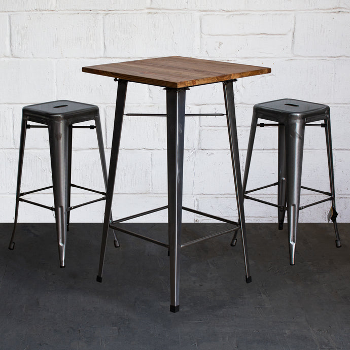 3PC Lodi Table & Orvieto Bar Stool Set - Steel