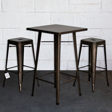 3PC Laus Table & Orvieto Bar Stool Set - Gun Metal Grey