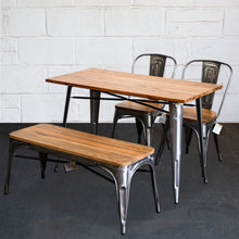 4PC Prato Table, 2 Palermo Chairs & Sicily Bench Set - Steel