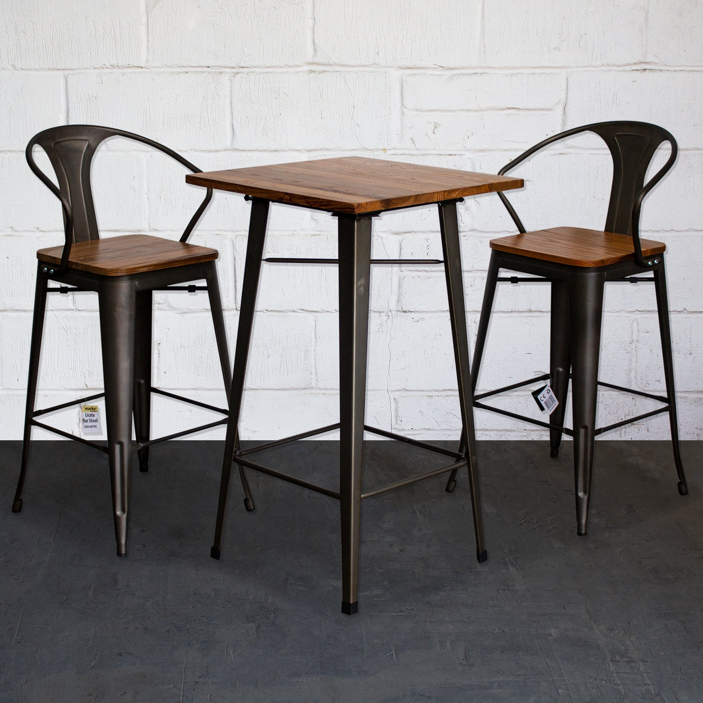 3PC Lodi Table & Licata Bar Stool Set - Gun Metal Grey