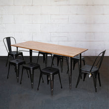 9PC Taranto Table, 2 Siena Chairs & 6 Castel Stools Set - Onyx Matt Black