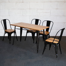 5PC Prato Table & 4 Palermo Chairs Set - Black