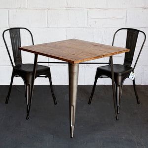 3PC Enna Table & Siena Chair Set - Gun Metal Grey