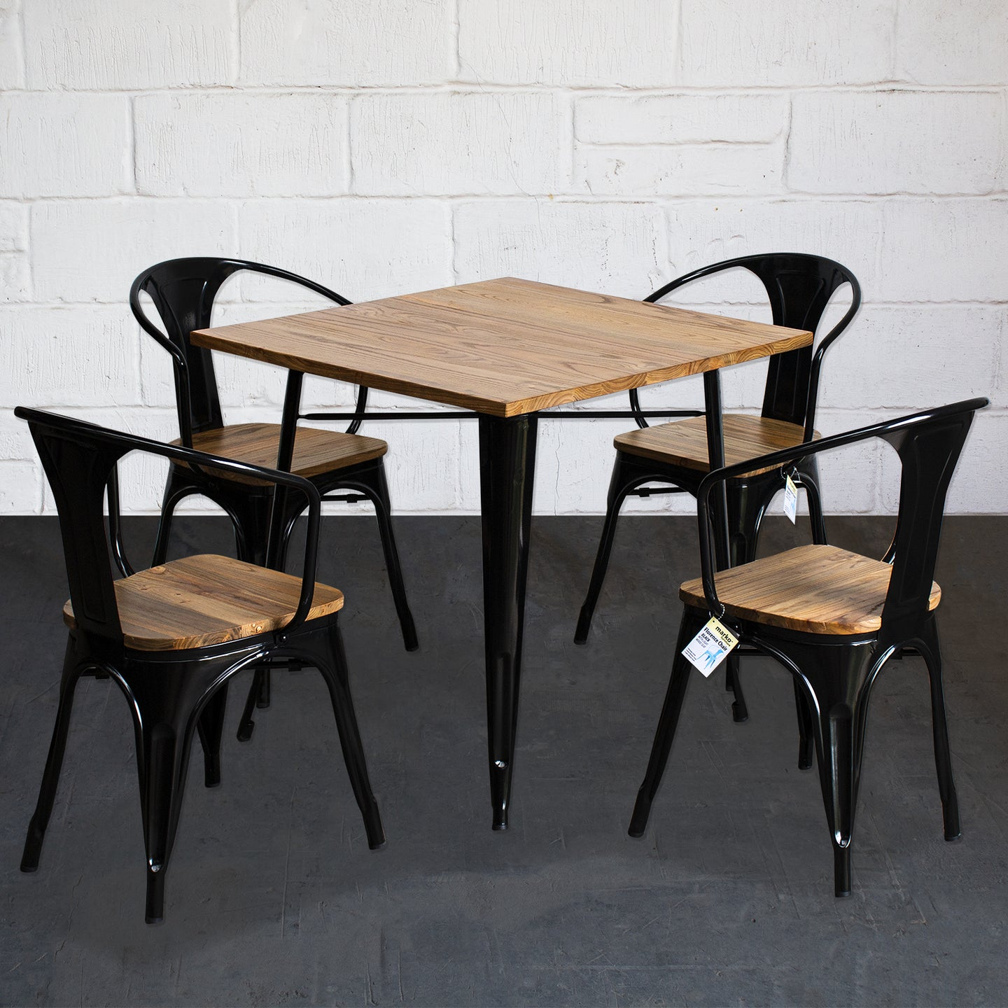 5PC Enna Table & Florence Chair Set - Black