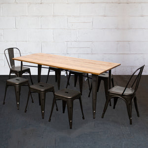 9PC Taranto Table, 2 Siena Chairs & 6 Castel Stools Set - Gun Metal Grey