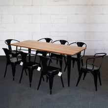 9PC Taranto Table & 8 Forli Chairs Set - Black