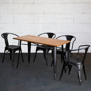5PC Prato Table & 4 Forli Chairs Set - Onyx Matt Black