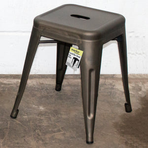 3PC Enna Table & Castel Stool Set - Gun Metal Grey