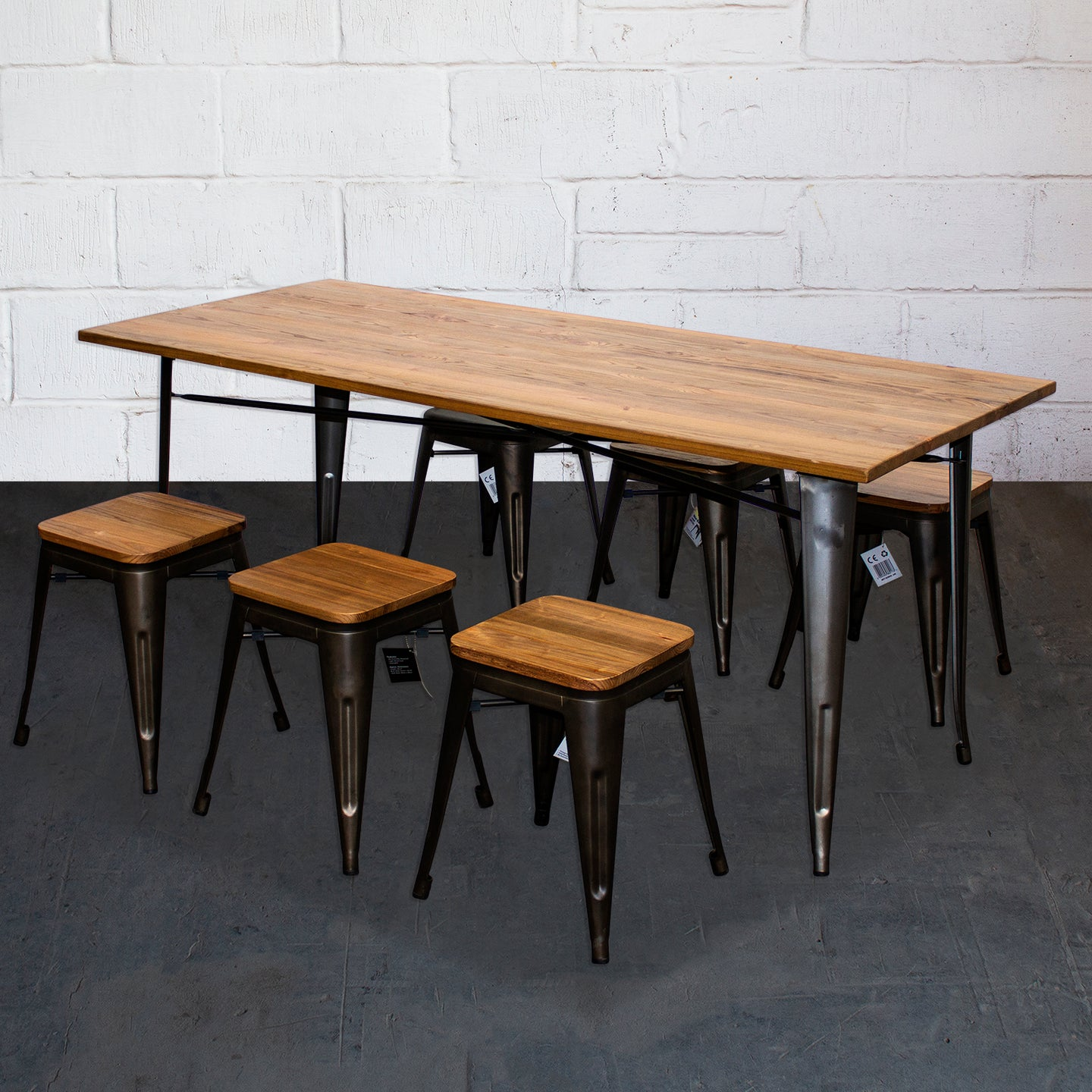 7PC Taranto Table & 6 Rho Stools Set - Gun Metal Grey