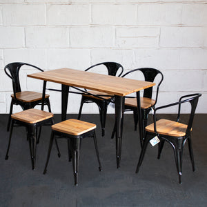 7PC Prato Table, 4 Florence Chairs & 2 Rho Stools Set - Black