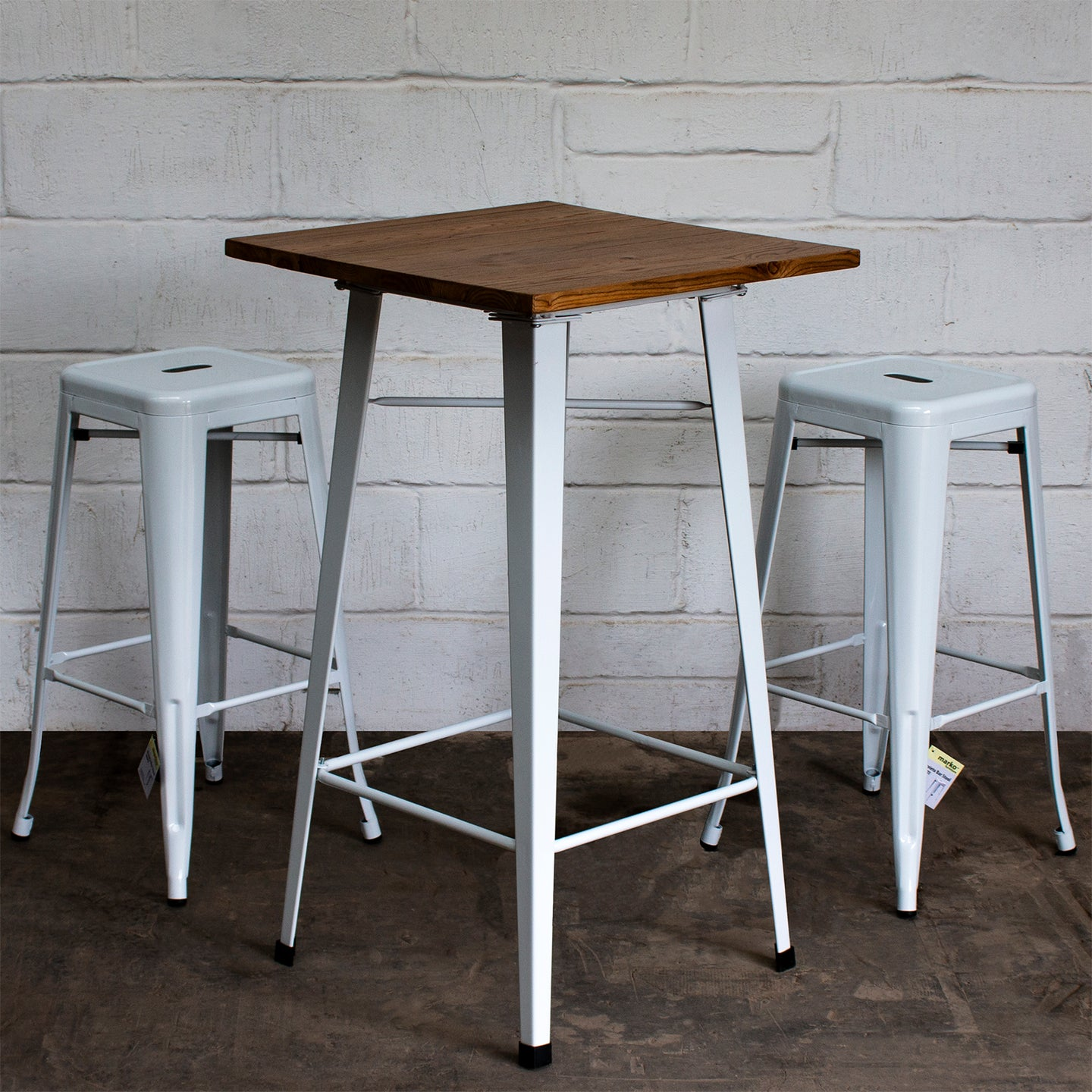 3PC Lodi Table & Orvieto Bar Stool Set - White