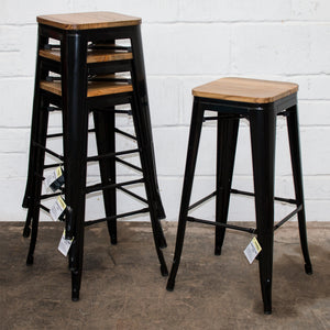 5PC Lodi Table & Firenze Bar Stool Set - Black