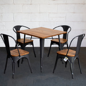 5PC Enna Table Florence & Palermo Chairs Set - Graphite Grey