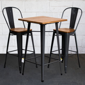 3PC Lodi Table & Soranzo Bar Stool Set - Graphite Grey