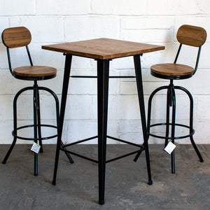 3PC Lodi Table & Lazio Bar Stool Set - Black