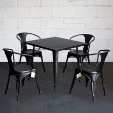 5PC Belvedere Table & Forli Chair Set - Onyx Matt Black