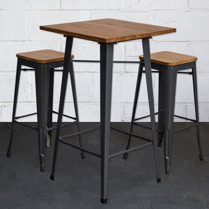 3PC Lodi Table & Firenze Bar Stool Set - Graphite Grey