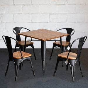 5PC Enna Table Florence & Palermo Chairs Set - Onyx Matt Black