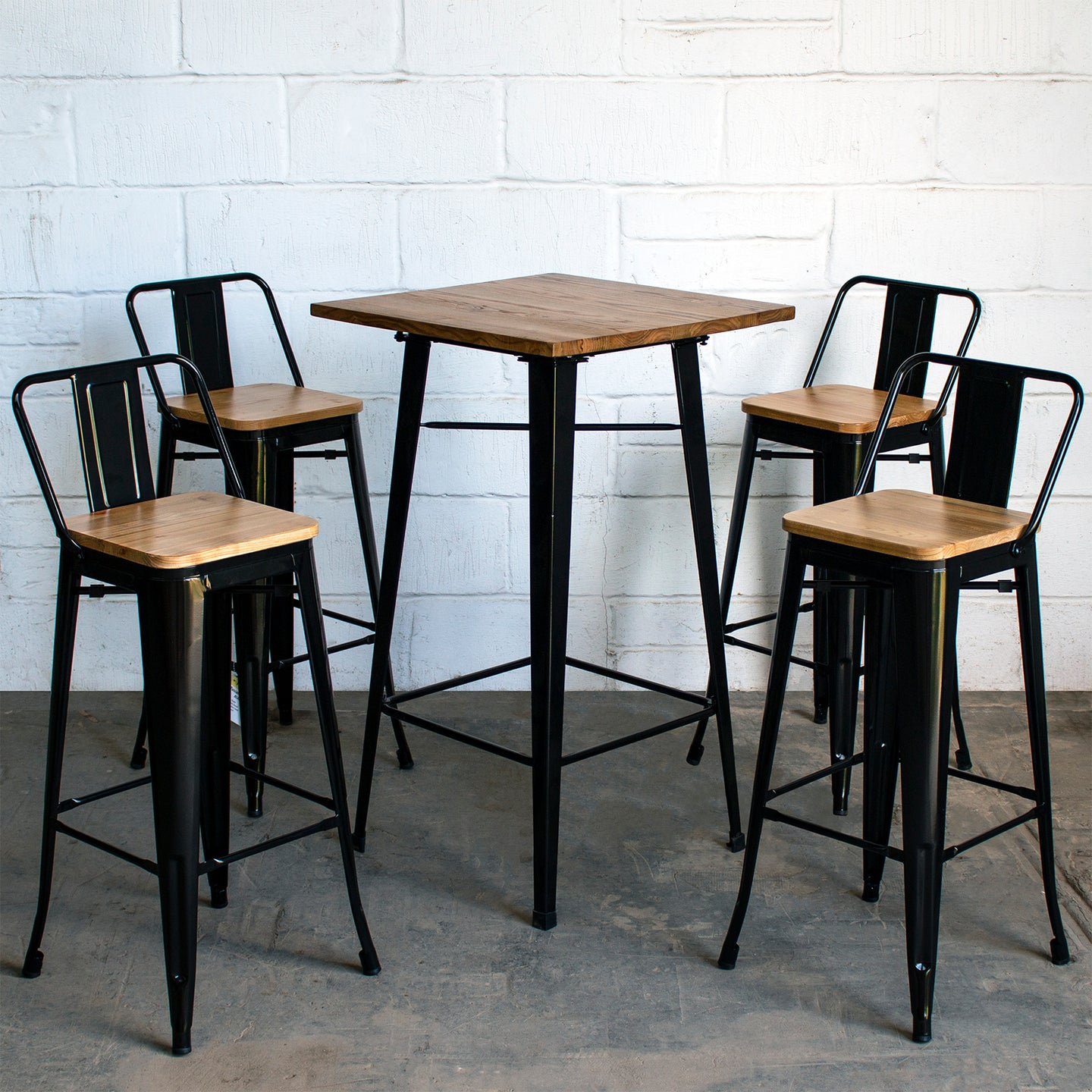 5PC Lodi Table & Tuscany Bar Stool Set - Black