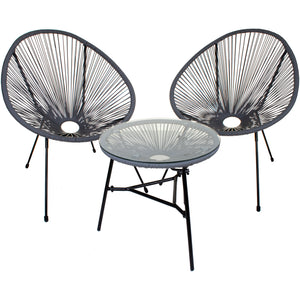 3PC Rattan Egg Set - Grey