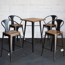 5PC Lodi Table & Licata Bar Stool Set - Onyx Matt Black