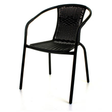 3PC Black Wicker Bistro Set with Silver 60cm Round Table