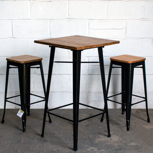 3PC Lodi Table & Firenze Bar Stool Set - Black