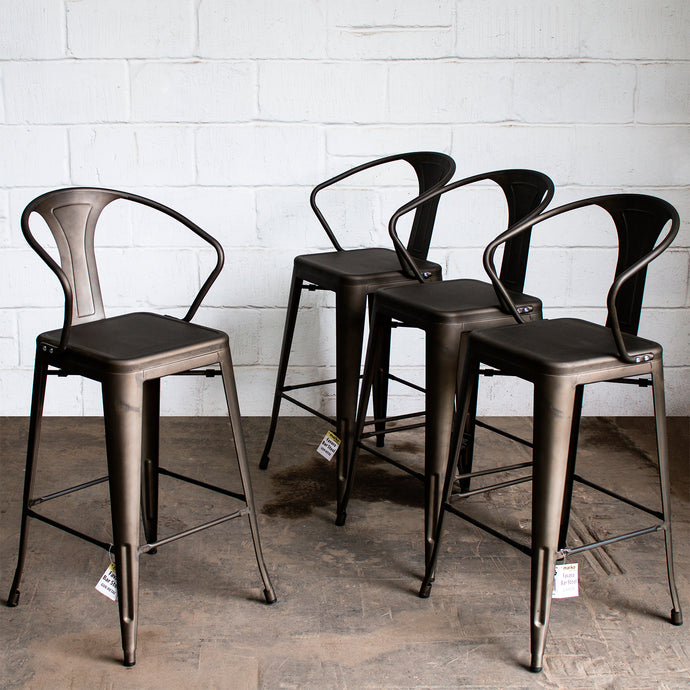 Favara Bar Stool - Gun Metal