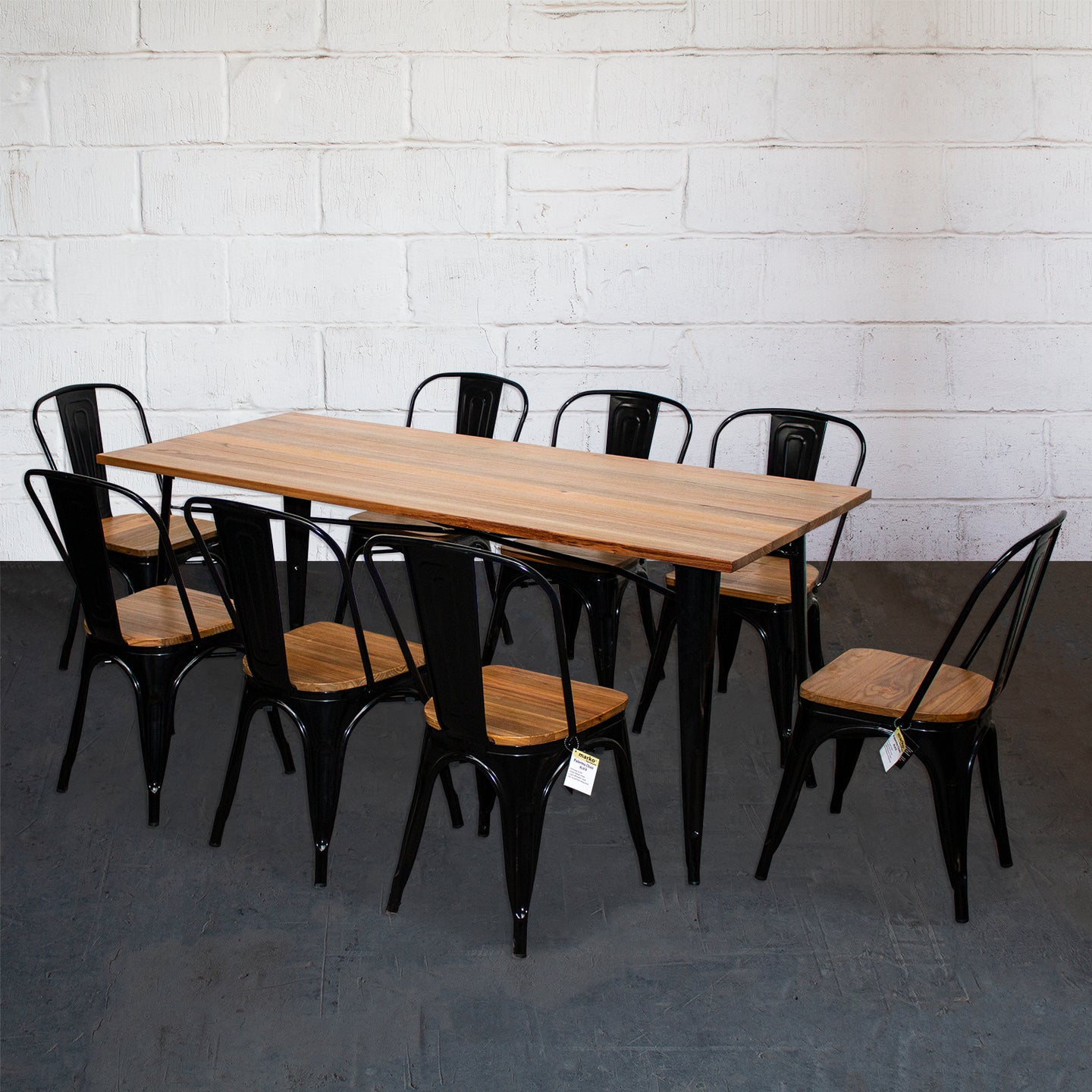 9PC Taranto Table & 8 Palermo Chairs Set - Black