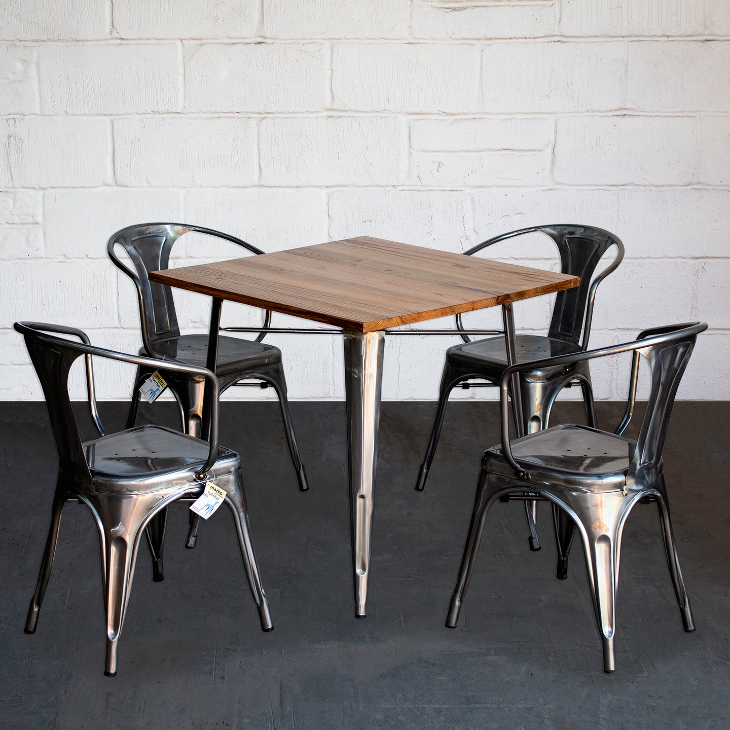 5PC Enna Table & Forli Chair Set - Steel