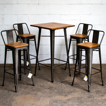 5PC Lodi Table & Tuscany Bar Stool Set - Gun Metal Grey