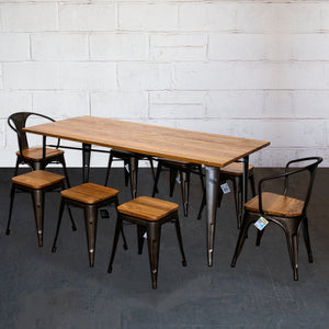 9PC Taranto Table, 2 Florence Chairs & 6 Rho Stools Set - Gun Metal Grey