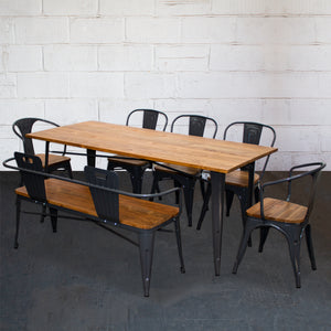 7PC Taranto Table, 2 Florence Chairs, 3 Palermo Chairs & Nuoro Bench Set - Graphite Grey