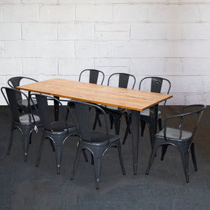 9PC Taranto Table, 2 Forli & 6 Siena Chairs Set - Graphite Grey