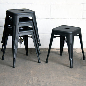 5PC Enna Table & Castel Stool Set - Onyx Matt Black