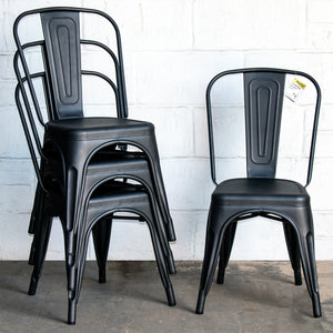 5PC Prato Table, 2 Forli & 2 Siena Chairs Set - Onyx Matt Black