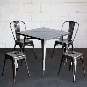 5PC Belvedere Table Siena Chair & Castel Stool Set - Steel