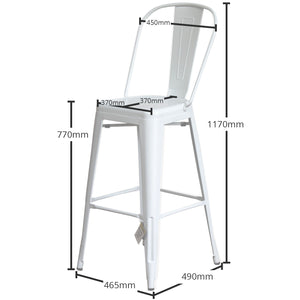 5PC Lodi Table & Pascale Bar Stool Set - White