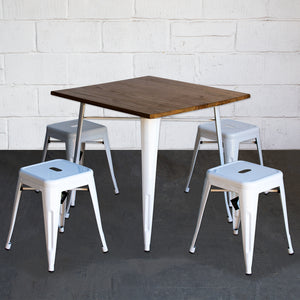 5PC Enna Table & Castel Stool Set - White