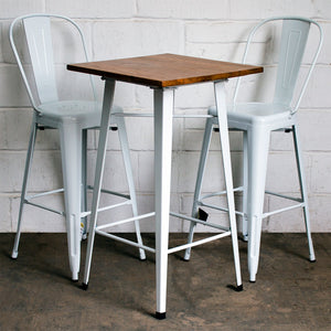 3PC Lodi Table & Pascale Bar Stool Set - White