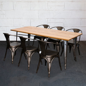 7PC Taranto Table & 6 Forli Chairs Set - Gun Metal Grey